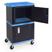 H. Wilson Blue Plastic Shelf Mobile Storage Cabinet Truck 250 Lb. Cap.