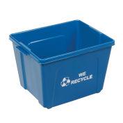 14 Gallon Recycling Bin, Blue, Plastic