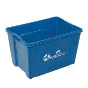 Recycling Bin, Blue, Plastic, 18 Gallon
