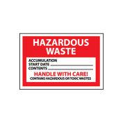 NMC HW19 Hazardous Waste Vinyl Labels - Hazardous Waste Handle With Care