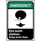 NMC EGA4RB Emergency Sign 14x10 Rigid Plastic - Eye Wash Station Keep Area Clear