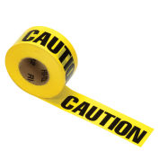 "Printed Barricade Tape - Caution Caution, 1,000' x 3"", Yellow, 1 Roll"