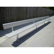Park Bench With Back, Portable and/or Surface Mount, Aluminum, 21'L