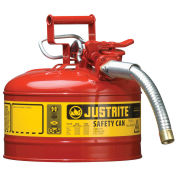 """Justrite 7225130 Type II Safety Can, 2-1/2 Gallon with 1"""" Hose"""