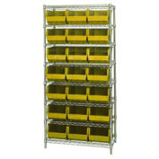 Wire Shelving With (21) Giant Plastic Stacking Bins Yellow, 36x18x74