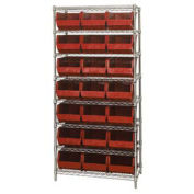 Wire Shelving With (21) Giant Plastic Stacking Bins Red, 36x18x74