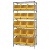 Wire Shelving With (15) Giant Plastic Stacking Bins Yellow, 36x18x74