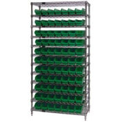 "Chrome Wire Shelving w/(77) 4""H Plastic Shelf Bins Green, 36x14x74"