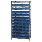 "Wire Shelving with (55) 4""H Plastic Shelf Bins Blue, 36x14x74"