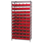 """Wire Shelving with (55) 4""""H Plastic Shelf Bins Red, 36x14x74"""