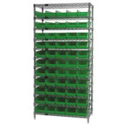 "Wire Shelving with (55) 4""H Plastic Shelf Bins Green, 36x14x74"
