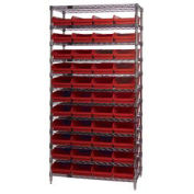 """Wire Shelving with (44) 4""""H Plastic Shelf Bins Red, 36x14x74"""