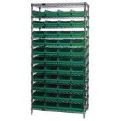 "Wire Shelving with (44) 4""H Plastic Shelf Bins Green, 36x14x74"