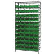 "Wire Shelving with (55) 4""H Plastic Shelf Bins Green, 36x18x74"
