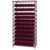 "Chrome Wire Shelving w/(77) 4""H Plastic Shelf Bins Red, 36x24x74"