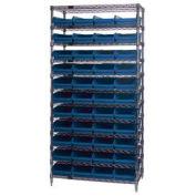 "Wire Shelving with (44) 4""H Plastic Shelf Bins Blue, 36x24x74"