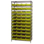 "Wire Shelving with (44) 4""H Plastic Shelf Bins Yellow, 36x24x74"