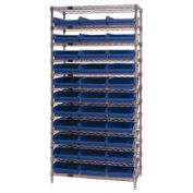 "Wire Shelving with (33) 4""H Plastic Shelf Bins Blue, 36x24x74"