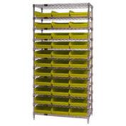 "Wire Shelving with (33) 4""H Plastic Shelf Bins Yellow, 36x24x74"