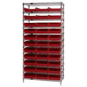 """Wire Shelving with (33) 4""""H Plastic Shelf Bins Red, 36x24x74"""