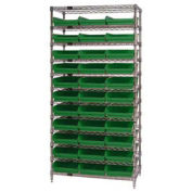 "Wire Shelving with (33) 4""H Plastic Shelf Bins Green, 36x24x74"