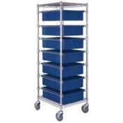 """Chrome Wire Cart With 7 6""""H Grid Blue Containers, 21X24X69"""