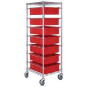 "Chrome Wire Cart With 7 6""H Grid Red Containers, 21X24X69"