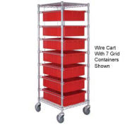 "Chrome Wire Cart With 11 3""H Grid Red Containers, 21X24X69"
