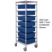 "7 Level Chrome Wire Cart , 21""L x 24""W x 69""H"