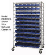 "Wire Shelving with (91) 4""H Plastic Shelf Bins Blue, 48x18x74"