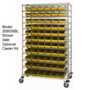 "Wire Shelving with (66) 4""H Plastic Shelf Bins Yellow, 48x18x74"