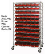"""Wire Shelving with (143) 4""""H Plastic Shelf Bins Red, 48x14x74"""
