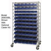 "Wire Shelving with (88) 4""H Plastic Shelf Bins Blue, 60x14x74"