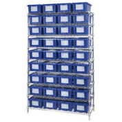"""Wire Shelving With (36) 6""""H Nest & Stack Shipping Totes Blue, 48x18x74"""