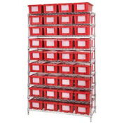 """Wire Shelving With (36) 6""""H Nest & Stack Shipping Totes Red, 48x18x74"""