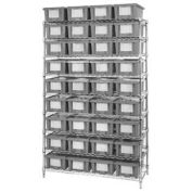 """Wire Shelving With (36) 6""""H Nest & Stack Shipping Totes Gray, 48x18x74"""