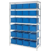 """Wire Shelving With (24) 8""""H Grid Container Blue, 48x18x74"""