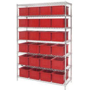 """Wire Shelving With (24) 8""""H Grid Container Red, 48x18x74"""