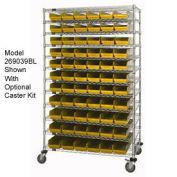 "Wire Shelving with (140) 4""H Plastic Shelf Bins Yellow, 72x14x74"