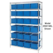 """Wire Shelving With (36) 3""""H Grid Container Blue, 60x24x63"""