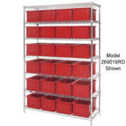"""Wire Shelving With (36) 3""""H Grid Container Red, 60x24x63"""