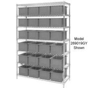 "Chrome Wire Shelving w/(36) 3""H Grid Container Gray, 60x24x63"