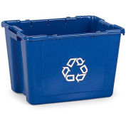 RUBBERMAID Recycling Bin - 14-Gallon Capacity - Blue