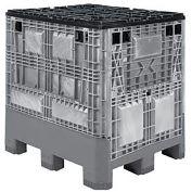 Buckhorn Folding Bulk Shipping Container, 48x40x46, 1200 Lbs., Light Gray