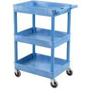 "Luxor Blue 3 Shelf Tray Shelf Plastic Cart 24 x 18, 24""L x 18""W x 40-1/2""H"