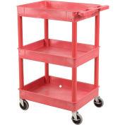 "Luxor Red 3 Shelf Tray Shelf Plastic Cart, 24""L x 18""W x 40-1/2""H"