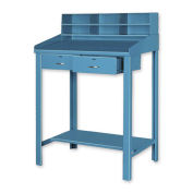"""Open Steel Shop Desk with Two Drawers, 36""""W x 48""""D x 30""""H, Blue"""