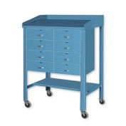 "Open Steel Shop Desk with Eight Drawers, 36""W x 30""D x 43""H, Blue"