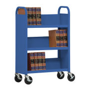 SANDUSKY Single-Sided Slant 3 Shelf Book Cart 31x13, Blue