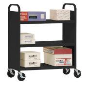 SANDUSKY Double-Sided Flat 3 Shelf Steel Cart 37x18, Black